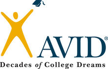 Avid Logo, Text reads: AVID Decades of College Dreams